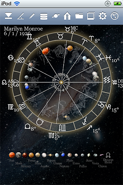 horoscope JIKU astrology astrologer iPhone screenshot space mode